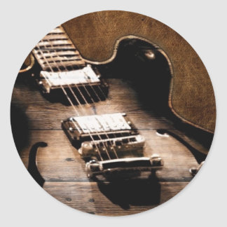 Country Music Guitar On Leather Background Sticker