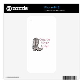 COUNTRY MUSIC LOVER DECAL FOR iPhone 4