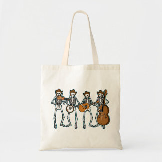 Country Music Playing Skeletons Canvas Bags