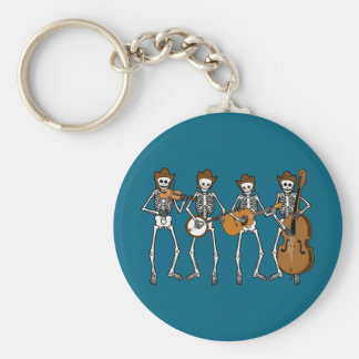 Country Music Playing Skeletons Basic Round Button Keychain