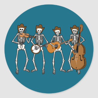 Country Music Playing Skeletons Classic Round Sticker