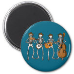 Country Music Playing Skeletons 2 Inch Round Magnet