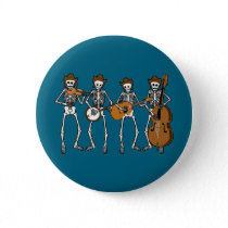 Country Music Playing Skeletons Pinback Button