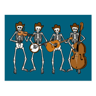 Country Music Playing Skeletons Postcard