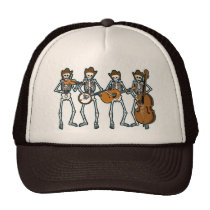 Country Music Playing Skeletons Trucker Hat