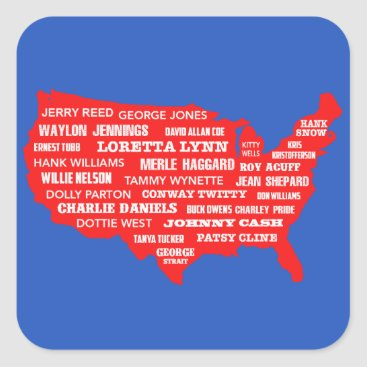 USA Themed Country Music USA Square Sticker