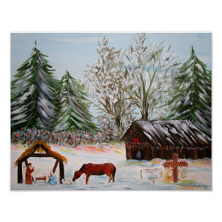 Country Nativity Christmas Scene Poster