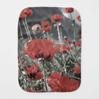 country nature landscape red poppy flower burp cloth