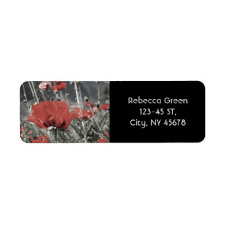 country nature landscape red poppy flower label
