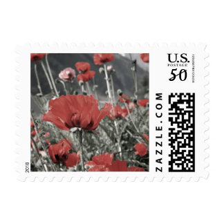 country nature landscape red poppy flower postage