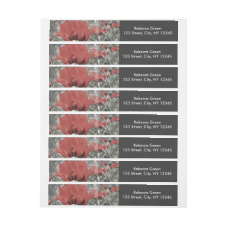 country nature landscape red poppy flower wrap around address label