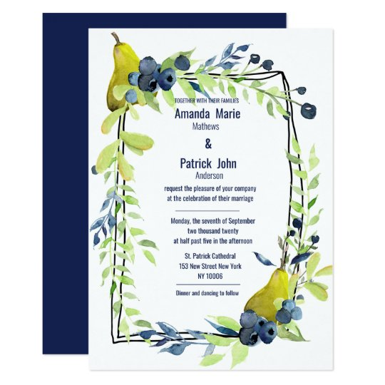 Country Navy Blue Lime Green Floral Wedding Invitation Zazzle Com