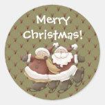 Country Nowel Santa Christmas Sticker