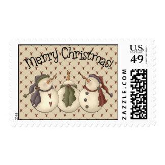 Country Nowel Snowmen Stamp