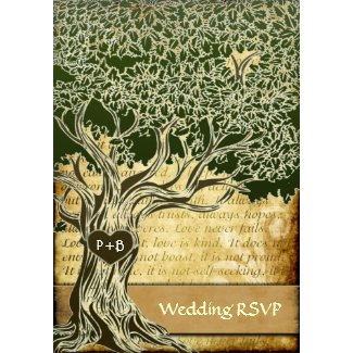 Country Oak Tree Vintage Wedding RSVP Cards invitation