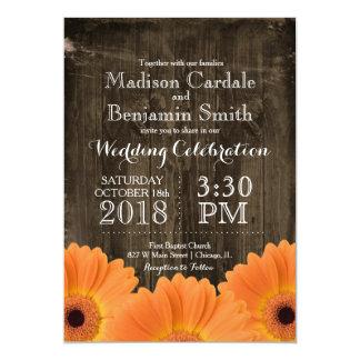 Country Orange Daisies Rustic Wood Wedding Invites