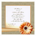 Country Orange Daisy Bridal Shower Personalized Announcements