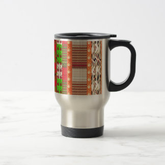 country orange patchwork graphic travel mug