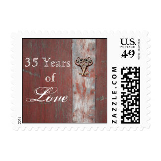 Country Painted Wood Key Anniversary Love Stamp