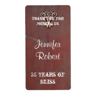Country Painted Wood Key Anniversary Wine Label