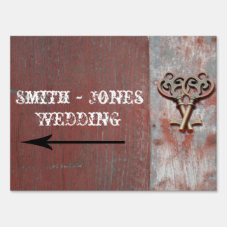 Country Painted Wood Keys Wedding Direction Sign