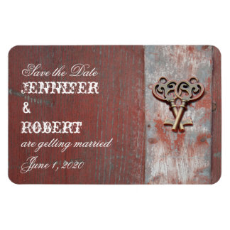 Country Painted Wood Keys Wedding Save the Date Magnet