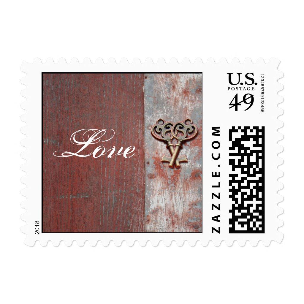 Country Painted Wood Skeleton Keys Wedding Postage