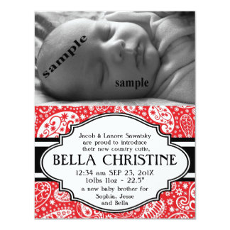 Country Paisley New Baby Girl birth Announcement