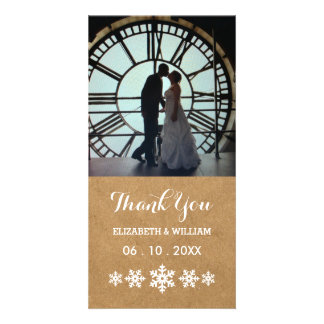 Country Paper Thank You with White Snowflakes Card