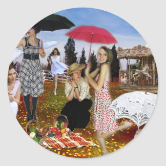 COUNTRY PARASOL CLASSIC ROUND STICKER