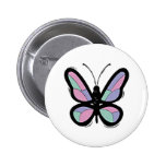 Country Patchwork Butterfly Pinback Button