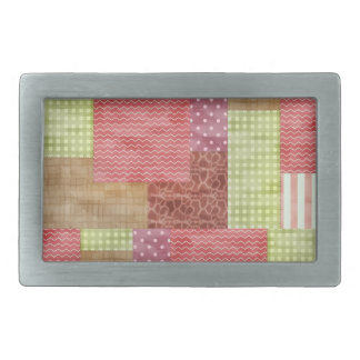 Country Patchwork Chic Pattern Quiltblocks Belt Buckle