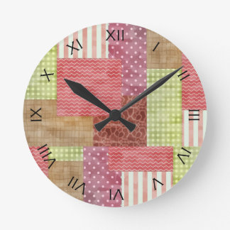 Country Patchwork Chic Pattern Quiltblocks Round Clocks