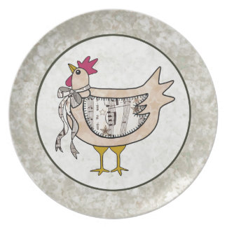 Country Patchwork Chicken Melamine Plate