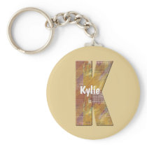 Country Patchwork Quilt Letter K Initial Monogram Keychain