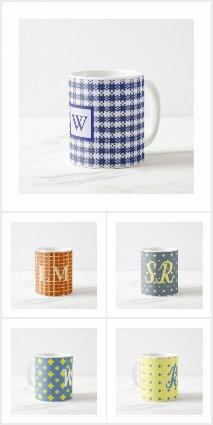 Country Pattern Monogram Mugs