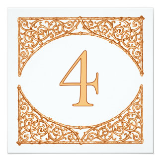 Country Peach & Brown Wood Screen Table Number 4