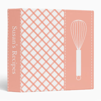Country Peach Plaid Whisk Recipe Book 3 Ring Binder