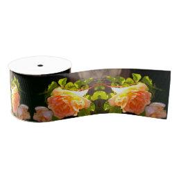 Country Peach Roses Grosgrain Ribbon