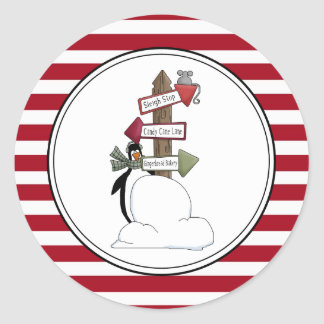 Country Penguin Holiday Envelope Seals Stickers