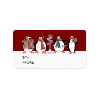 Country Penguins Gift Tags Address Label