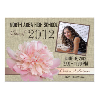 Country Peony Graduate Photo 5x7 Paper Invitation Card
