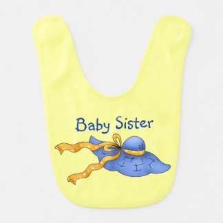 Country Personalized Blue Bonnet Baby Sister Baby Bib