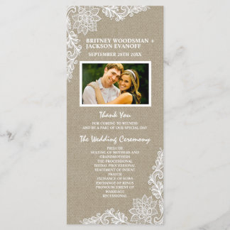 Country Photo Burlap and Lace Wedding Programs