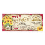Country Picnic Sunflowers Rustic Bridal Shower 4x9.25 Paper Invitation Card
