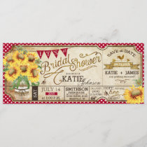 Country Picnic Sunflowers Rustic Bridal Shower Save The Date
