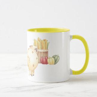 Country pig and fresh veggies mug
