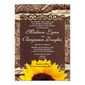 Country Pine Needles Sunflower Wedding Invitations
