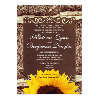 Country Pine Needles Sunflower Wedding Invitations Custom Invites