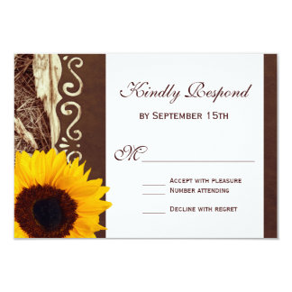 Country Pine Needles Sunflower Wedding RSVP Cards